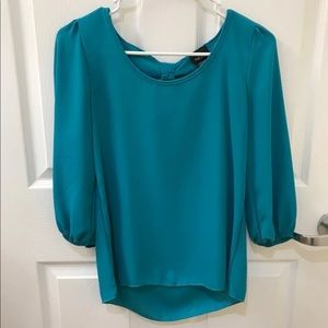 Teal Bow Blouse
